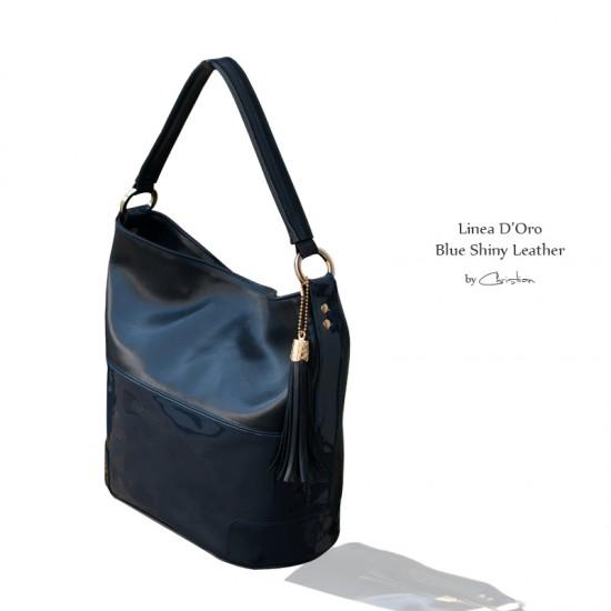 Geanta dama piele naturala - MC 111- Blue Shiny Leather