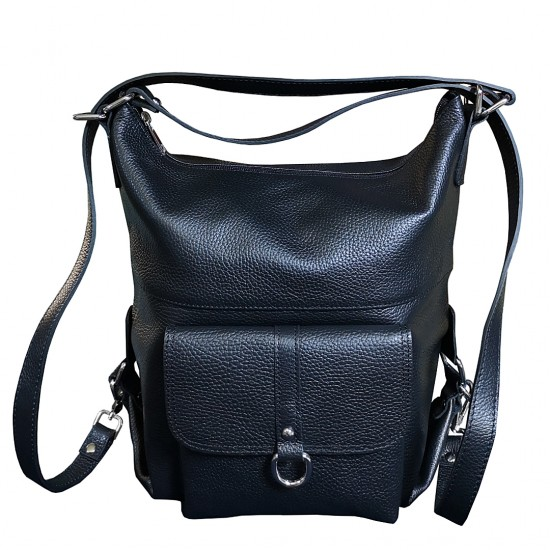 Ela Black Leather Bag