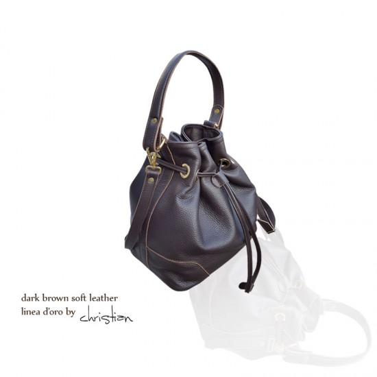 Geanta dama piele naturala - MC 27 - Bucket Bag Dark Brown