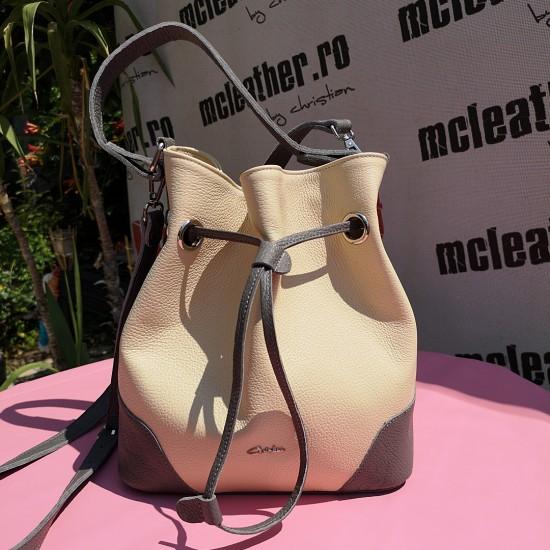 Geanta dama din piele naturala - MC 27 Bucket Bag Grey  Soft Leather