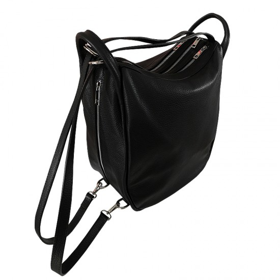 Geanta dama din piele naturala - Big  Bag Black Code Leather