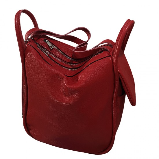 Geanta dama din piele naturala - Big  Bag Soft Leather Red