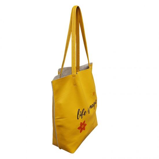 Geanta dama din piele naturala - Basic Tote Bag Soft Yellow Leather
