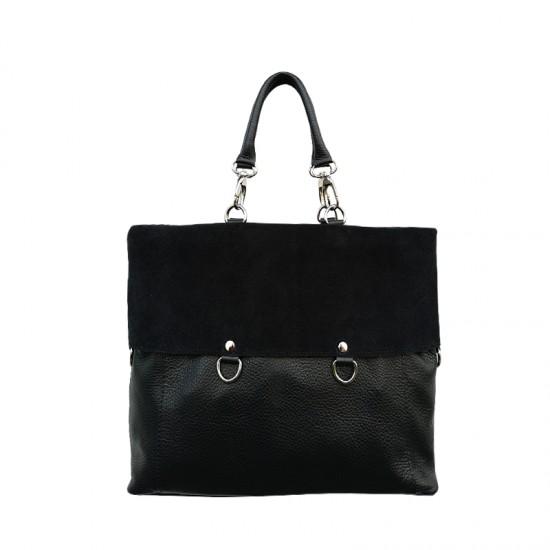 Geanta dama din piele naturala - GRACE Black Code Leather