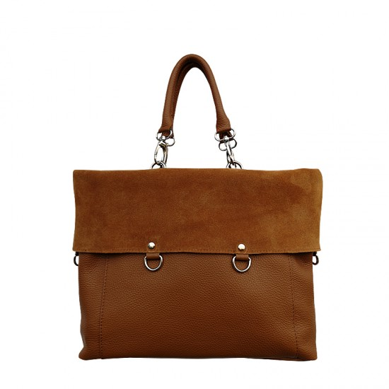 Geanta dama din piele naturala - GRACE Marrone Soft Leather