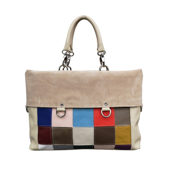 Geanta dama din piele naturala - GRACE Multicolor Cream Soft Leather