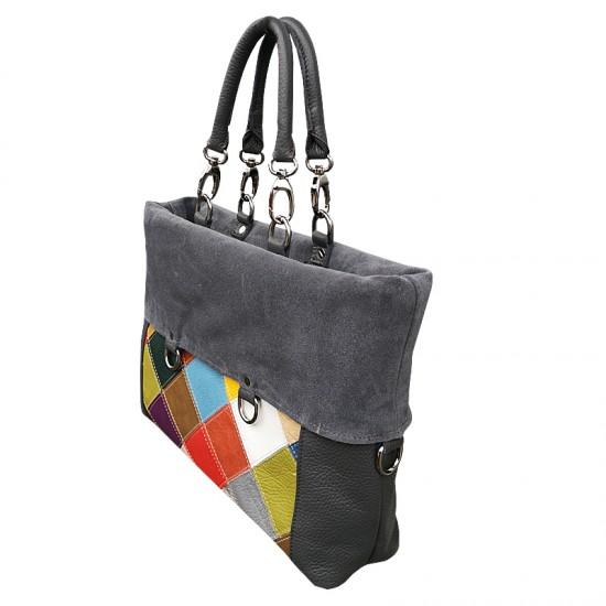 Geanta dama din piele naturala - GRACE Multicolor Grey Soft Leather