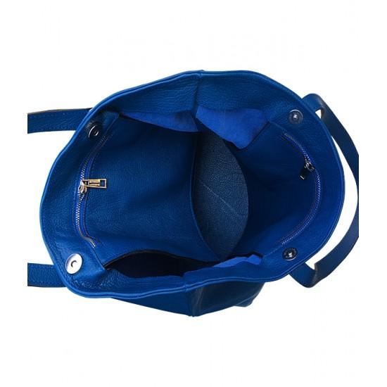 Geanta dama piele naturala - MEGHAN - Blue Sky Leather Shopper Bag