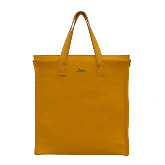 Geanta dama din piele naturala - Emilly Yellow Soft Leather