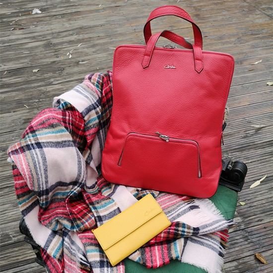 Geanta dama piele naturala Premium - Josephine Red Soft Leather