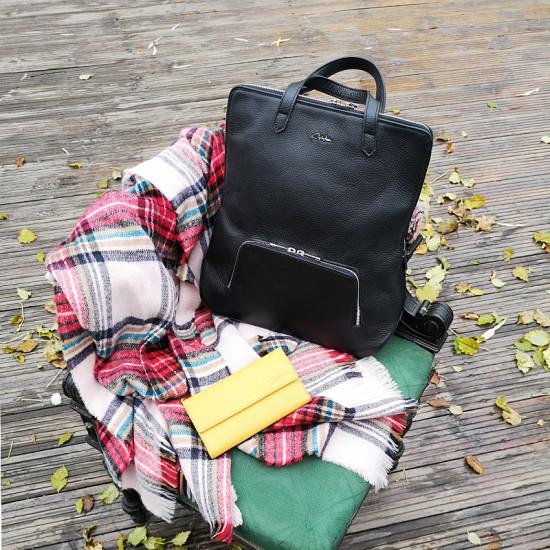 Geanta dama piele naturala Premium - Josephine Black Code Leather