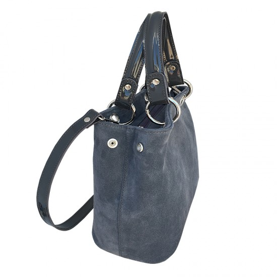 Geanta dama piele naturala - MC 47 -Velur grey/shine leather