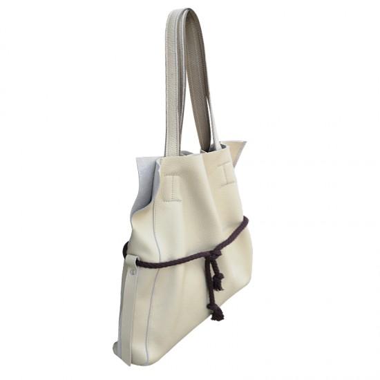 Geanta dama din piele naturala - Robin Cream Soft  Leather