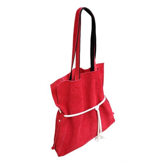 Geanta dama din piele naturala - Robin Red Soft Velur Leather