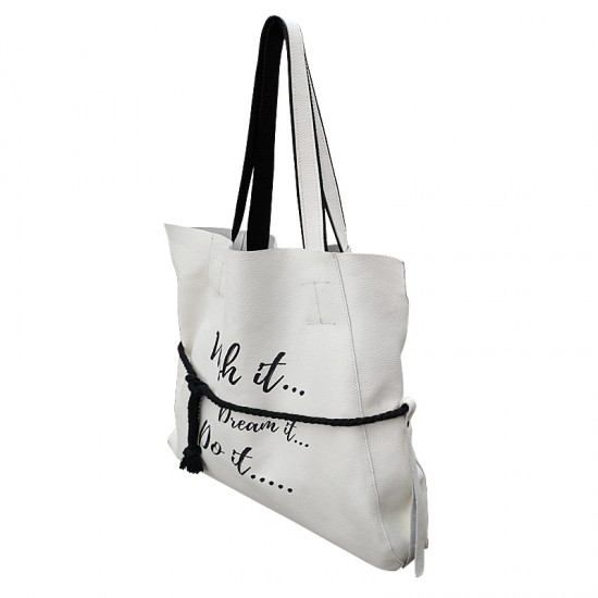 Geanta dama din piele naturala - Robin Custom Print Soft White Leather