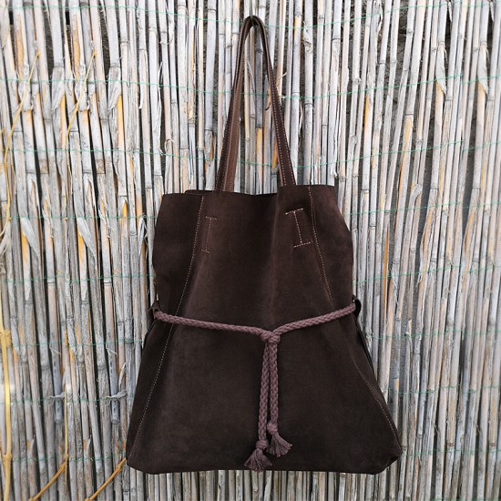 Geanta dama din piele naturala - Robin Dark Brown Soft Velur Leather