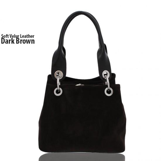 Nadine Brown Soft Velur Leather