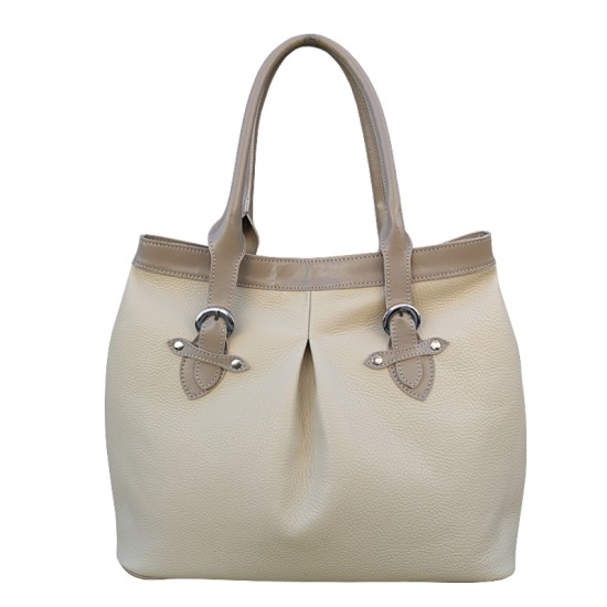 Geanta dama din piele naturala D01 Cream Soft Leather