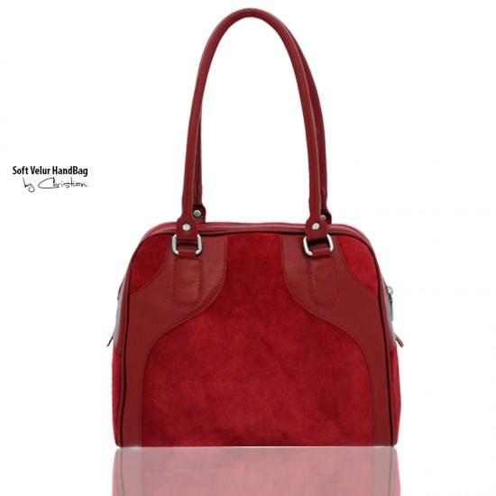 Geanta dama piele naturala - F 68 Scarlet Velur