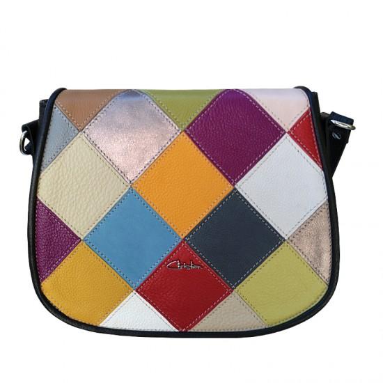 Geanta dama piele naturala - Postas - Multicolor Patch