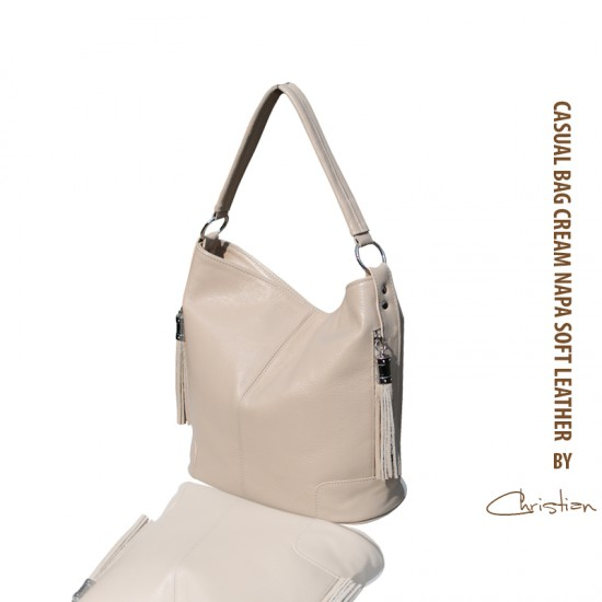 Geanta dama piele naturala - MC 11 Casual Soft Cream Leather