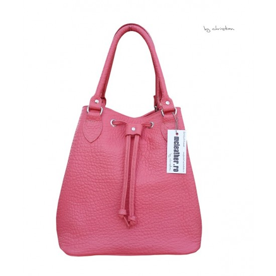 Geanta dama piele naturala MC 25-  Bucket Bag Pink Premium Leather