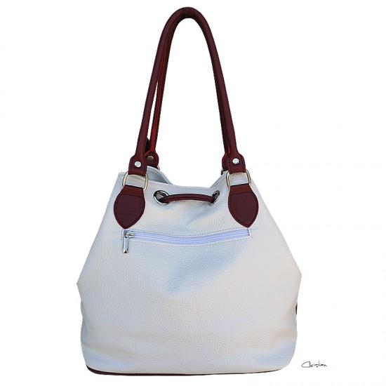 Geanta dama piele naturala MC 25 - Bucket Bag White/Marsala Leather