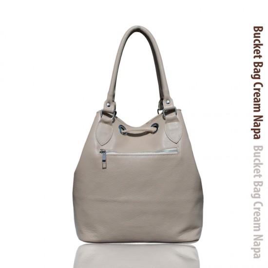 Geanta dama piele naturala MC 25 - Bucket Bag Cream  Soft Leather