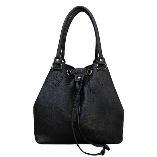 Geanta dama piele naturala MC 25 -  Bucket Bag Black Code Soft Leather