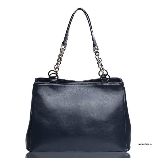 Geanta dama piele naturala - MC 37 Chain Handle Handbags Navy