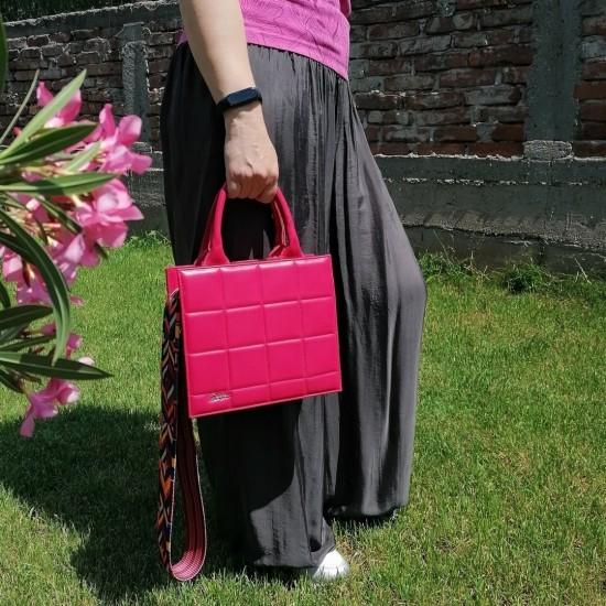 Geanta dama din piele naturala - Ines Fuxia Box Leather