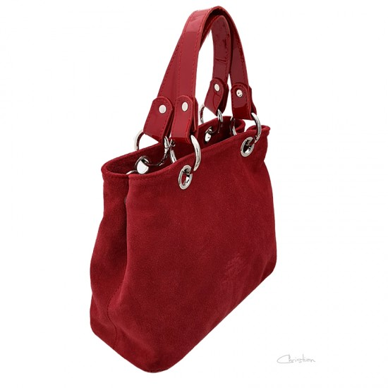 Geanta dama piele naturala - MC 47 - Red Velur Leather