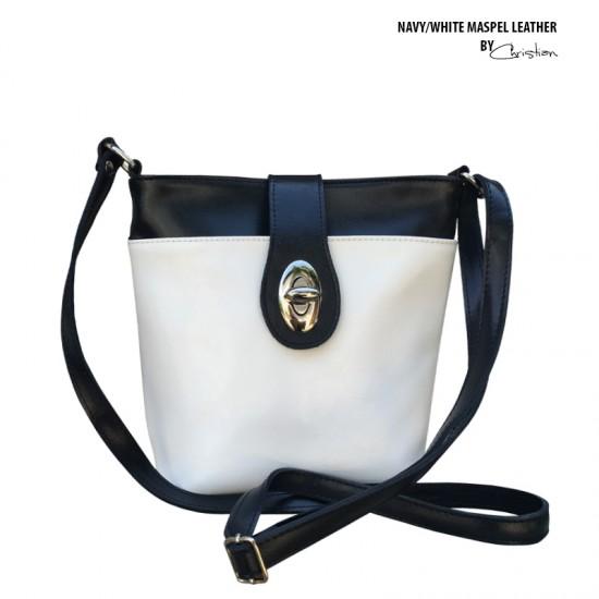 Geanta dama piele naturala - MC 34 NAVY/ WHITE